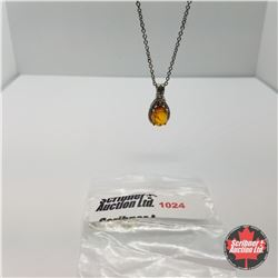 "Necklace - Baltic Amber & Fire Opal (20"")"