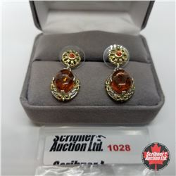 Earrings - Baltic Amber with Citrine - Sterling Silver