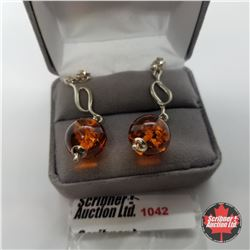 Earrings - Baltic Amber Ball - Sterling Silver