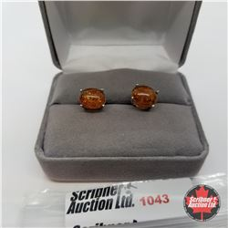 Earrings - Baltic Amber Studs - Sterling Silver
