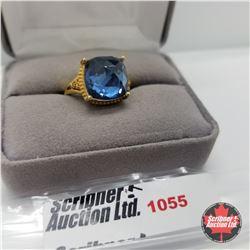Ring - Size 7: Titanium Blue Quartz Stainless - 18k ION Plated Bond Overlay
