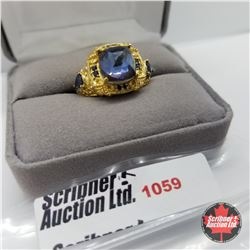Ring - Size 7: Titanium Blue Sapphire Stainless - 18k ION Plated Bond Overlay
