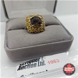 Ring - Size 7: Brazilian Smokey Quartz & Citrine - Sterling Silver - Platinum Bond Overlay