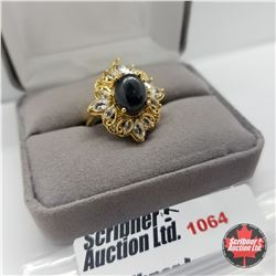 Ring - Size 7: Black Spinel - Sterling Silver - 14k Overlay Stainless