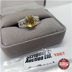 Ring - Size 7: Citrine & Fire Opal - Sterling Silver - Platinum Bond Overlay