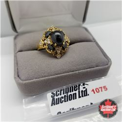 Ring - Size 7: Black Spinel & Simulated Diamond - Sterling Silver - 14k Overlay Stainless