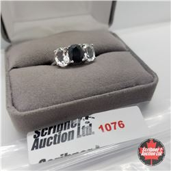 Ring - Size 7: Black Spinel & White Topaz - Sterling Silver