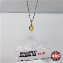 """Necklace: Citrine (20"""") - Sterling Silver"""