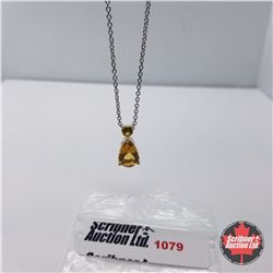 """Necklace: Citrine Yellow Sapphire (Lab) (20"""") - Sterling Silver"""