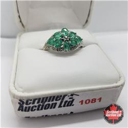 Ring - Size 8: Columbian Emerald - Sterling Silver (w/Box) Platinum Bond Overlay