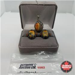 "Set - Bumblebee Jasper  (20"") - Sterling Silver"