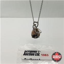 """Necklace - Peanut Wood Diamond Platinum Overlay (20"""")"""