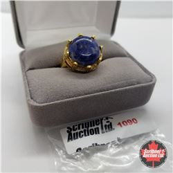 Ring - Size 9: Sodalite - Sterling Silver - 18k ION Plated Bond Overlay