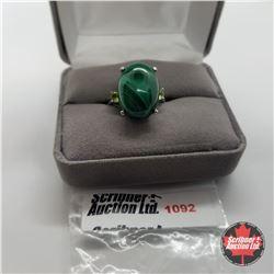 Ring - Size 7: Malachite & Peridot - Sterling Silver - 18k ION Plated Bond Overlay