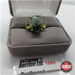 Ring - Size 7: Siberian Seraphinite & Peridot - Sterling Silver - 18k ION Plated Bond Overlay