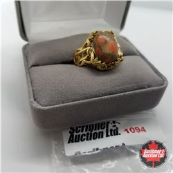 Ring- Size 10: Orange Turquoise & Citrine - Sterling Silver - 18k ION Plated Bond Overlay