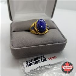 Ring - Size 8: Lapis Lazuli - Sterling Silver - 18k ION Plated Bond Overlay