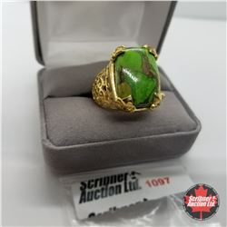 Ring - Size 8: Green Turquoise - Sterling Silver - 18k ION Plated Bond Overlay