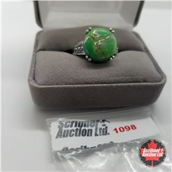 Ring - Size 9: Green Turquoise - Sterling Silver - 18k ION Plated Bond Overlay