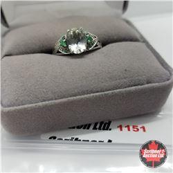 Ring - Size 7: Prasiolite Simulated Green Diamond - Sterling Silver - Platinum Bond Overlay