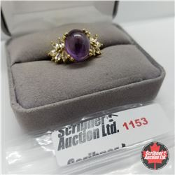 Ring - Size 7: Amethyst & White Topaz - Sterling Silver - 18k ION Plated Bond Overlay