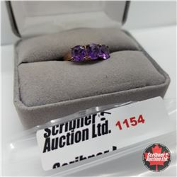 Ring - Size 7: Amethyst - Sterling Silver - Rose Gold Overlay