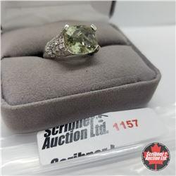 Ring - Size 7: Green Amethyst Platinum Overlay