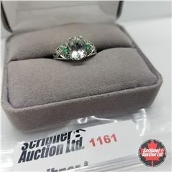 Ring - Size 7: Prasiolite & Simulated Green Diamond - Sterling Silver - Platinum Bond Overlay