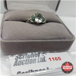 Ring - Size 7: Prasiolite - Sterling Silver - Platinum Bond Overlay