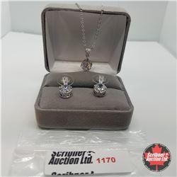 "Set - Simulated Diamond (16-18"") - Sterling Silver"