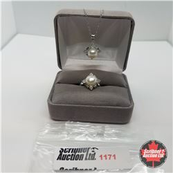 """Set - Pearl & Simulated Diamond Size 6 (20"""") Stainless"""