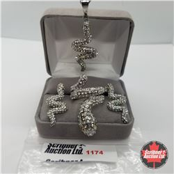 """Set - Snake & Austrian Crystal Size 7 (20"""") Stainless"""
