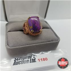 Ring - Size 7: Purple Turquoise Rose Gold Overlay