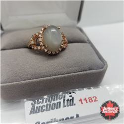 Ring - Size 7: Moonstone Simulated Diamond Rose Gold Overlay
