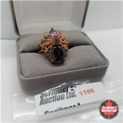 Ring - Size 9: Smokey Quartz Spider Rose Gold  Overlay