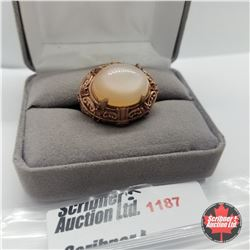 Ring - Size 7: Peach Moonstone Rose Gold Overlay