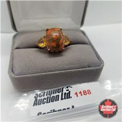Ring - Size 9: Orange Turquoise Rose Gold Overlay