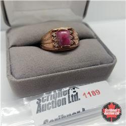 Ring - Size 10: Enhanced Ruby Simulated Diamond Rose Gold Overlay