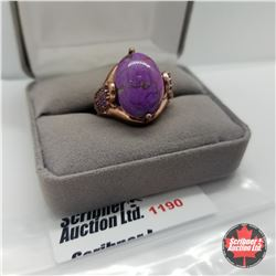 Ring - Size 8: Purple Turquoise Rose Gold Overlay