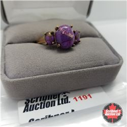 Ring - Size 10: Purple Turquoise Rose Gold Overlay