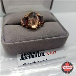 Ring - Size 8: Champagne Quartz & Garnet Rose Gold Overlay