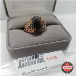 Ring - Size 8: Smokey Quartz Rose Gold Overlay