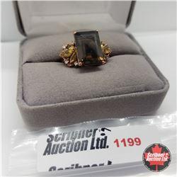 Ring - Size 7: Smokey Quartz Citrine Rose Gold Overlay
