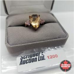 Ring - Size 7: Rose Quartz Sapphire Rose Gold Overlay