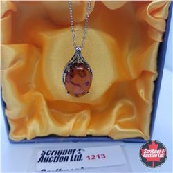 """Necklace - Baltic Amber & Citrine (18"""") - Sterling Silver"""