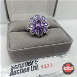 Ring - Size 7: Simulated Purple Sapphire Platinum Bond Overlay - Sterling Silver