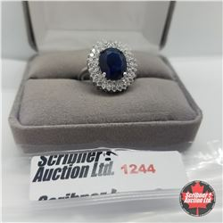 Ring - Size 8: Simulated Blue Sapphire & Simulated Diamond - Sterling Silver