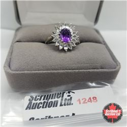 Ring - Size 8: Amethyst & White Topaz - Sterling Silver