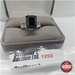 Ring - Size 8: Black Spinel  - Sterling Silver