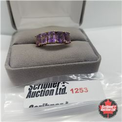 Ring - Size 8: Amethyst 5 Stone - Sterling Silver